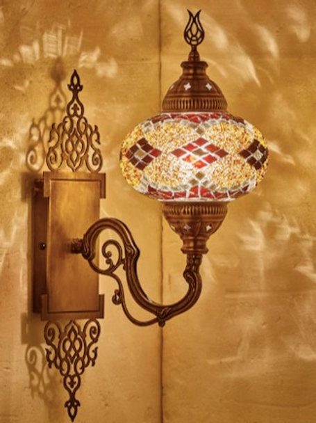MOSAIC WALL LAMP WITH ORIENTAL MOUNT PIECE , 00011