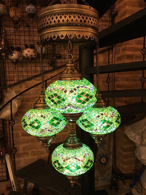 TURKISH MOSAIC CHANDELIER, 5 LAMPS, LARGE GLOBES NO 3