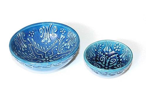 TURKISH CERAMIC MEZE / TAPAS BOWL SET OF TWO, BLUE