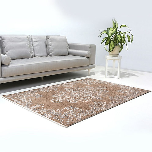 BROWN AND BEIGE REVERSIBLE CARPET, WASHABLE