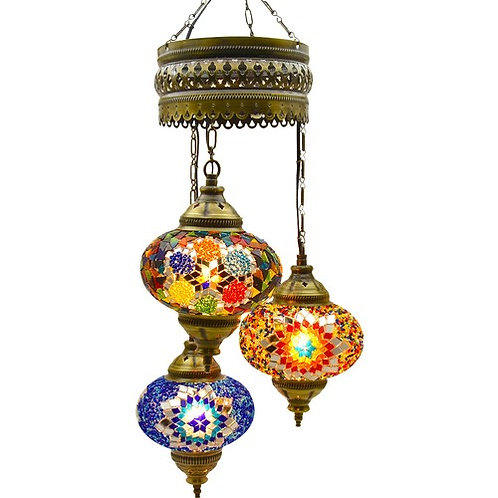 "3 LAMPS MOSAIC CHANDELIER, NO.2 (GLOBE SIZE: 12 cm - 4.7""), MIX COLORS"