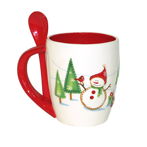 CHRISTMAS HOT CHOCOLATE CUP WITH SPOON