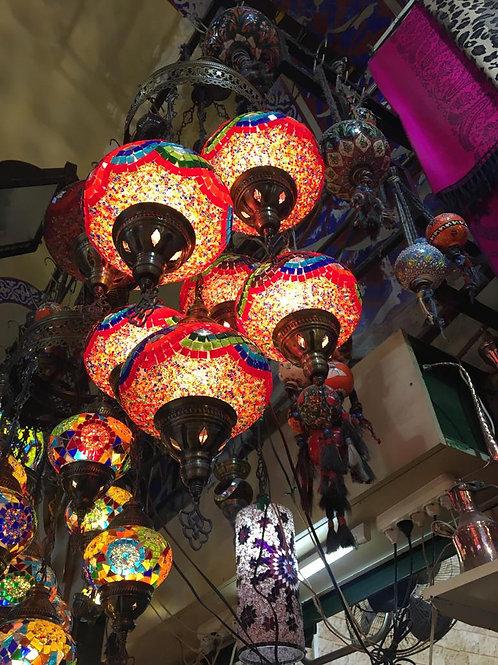 TURKISH MOSAIC CHANDELIER, 7 LAMPS, ORANGE