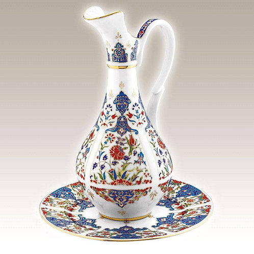 GOLD PAINT TURKISH PORCELAIN IBRIK SET, 25 cm (9.8""