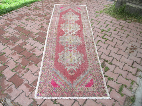 PINK TURKISH KILIM RUNNER,296 x 93 cm (8.4 x 3 ft)