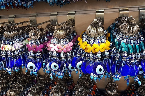 100x ASSORTED EVIL EYE KEY CHAINS