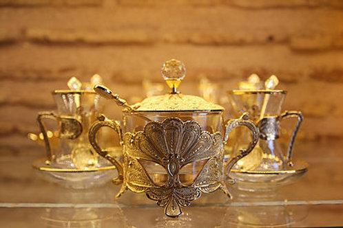 HANDMADE TURKISH TEA SET, TEA SPOONS, SUGAR BOWL