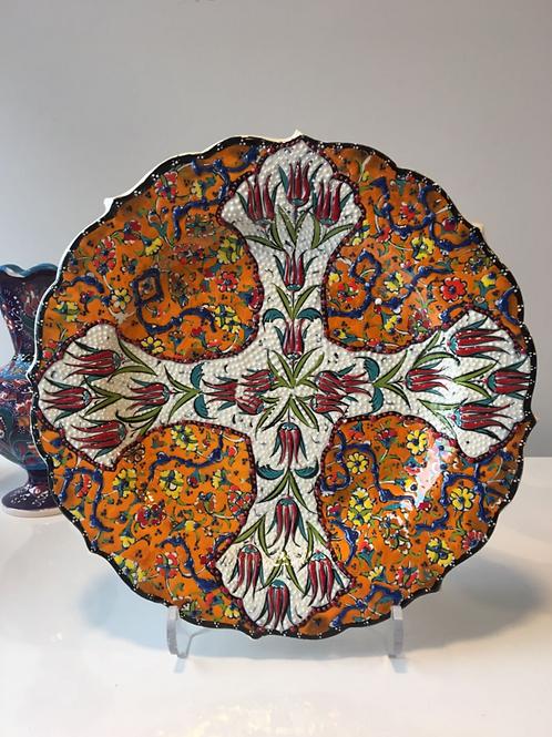 """ORANGE TURKISH CERAMIC PLATE, 25 cm (9.8"""")"""