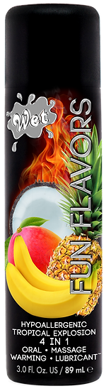 WET FLAVORED TROPICAL EXPLOSION  4 IN 1 EDIBLE LUBE 3 Oz.