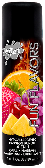 WET FLAVORED PASSION PUNCH 4 IN 1 EDIBLE LUBE 3 Oz.