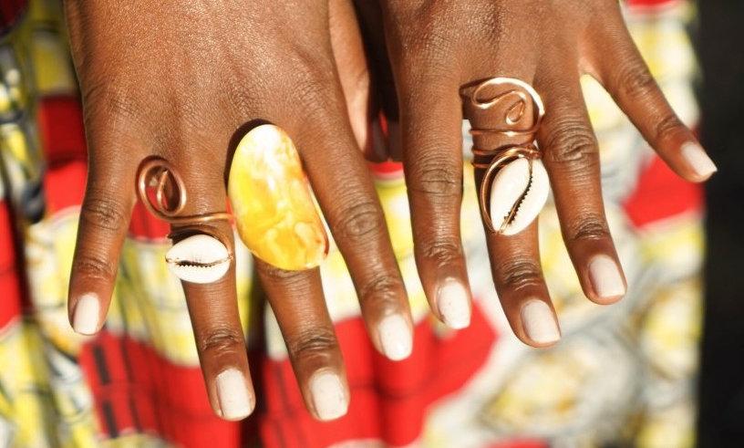 Copper Goddess Rings w/Shell