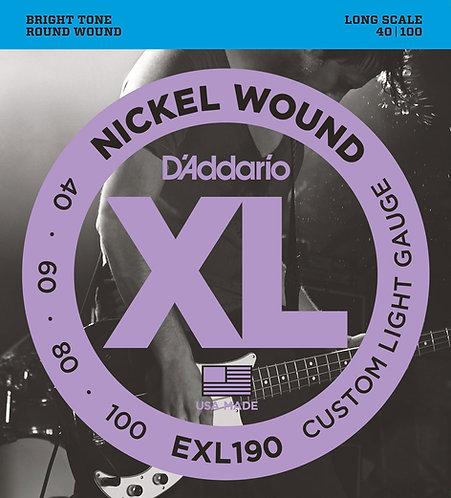 D'Addario Electric Bass Strings 40-100 Custom Light