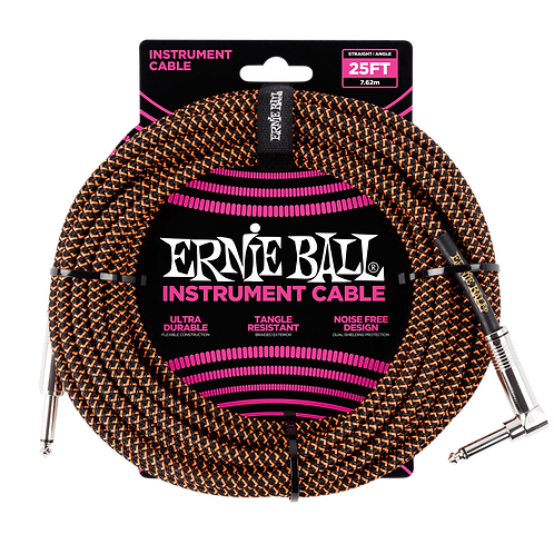 Ernie Ball Braided Instrument Cable (25ft) Straight/Angle