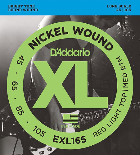 D'Addario Electric Bass Strings 45-105 Light Top Medium Bottom