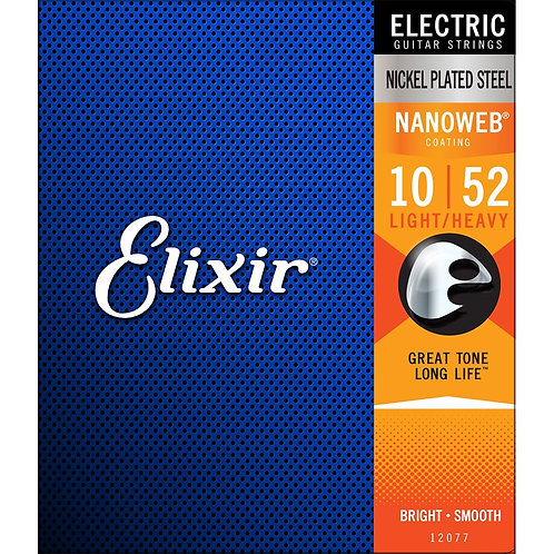 Elixir Nanoweb Electric Guitar Strings 10-52 Light Top Heavy Bottom