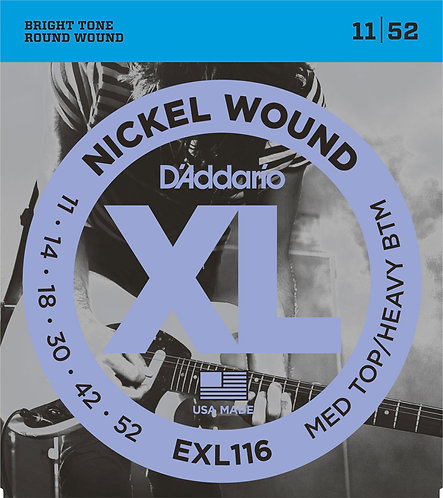 D'Addario Electric Guitar Strings 11-52 Medium Top Heavy Bottom