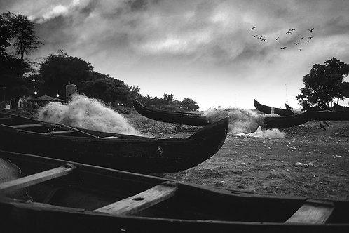 Countryboats in Kochin Beach, 1993