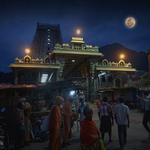 "Full Moon in Arunachala, Archival Pigment Print, 24""x24"", Abul Kalam Azad"