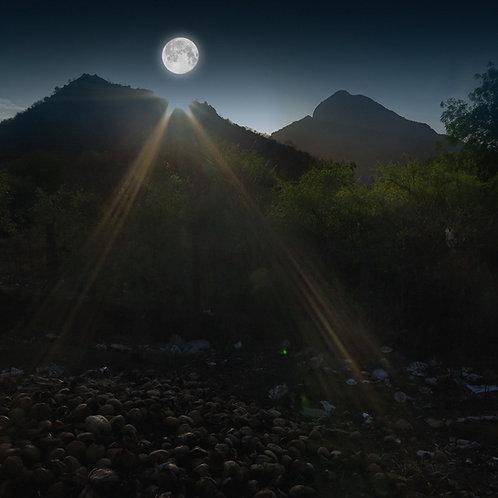 "Full Moon in Arunachala, Archival Pigment Print, 24""x24"", Abul Kala"