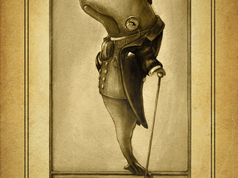 Character design: A whale in a Victorian suit