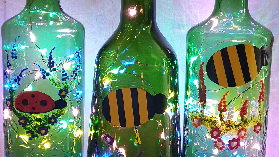 Recycled bottle lights - insects