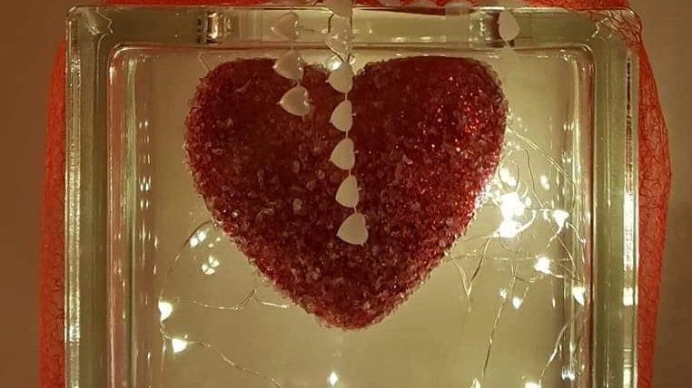 Hanging heart personalised light block