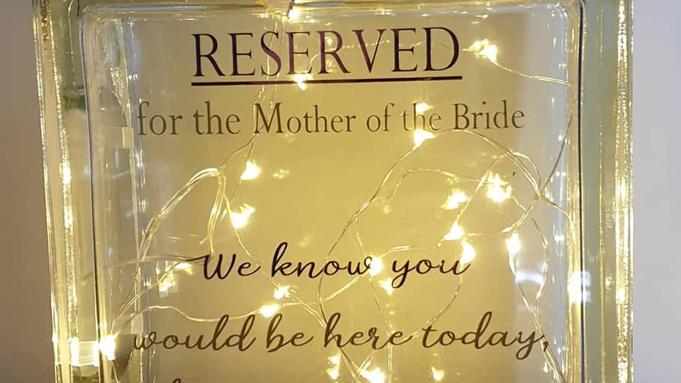 Reserved for Mother of the Bride light block
