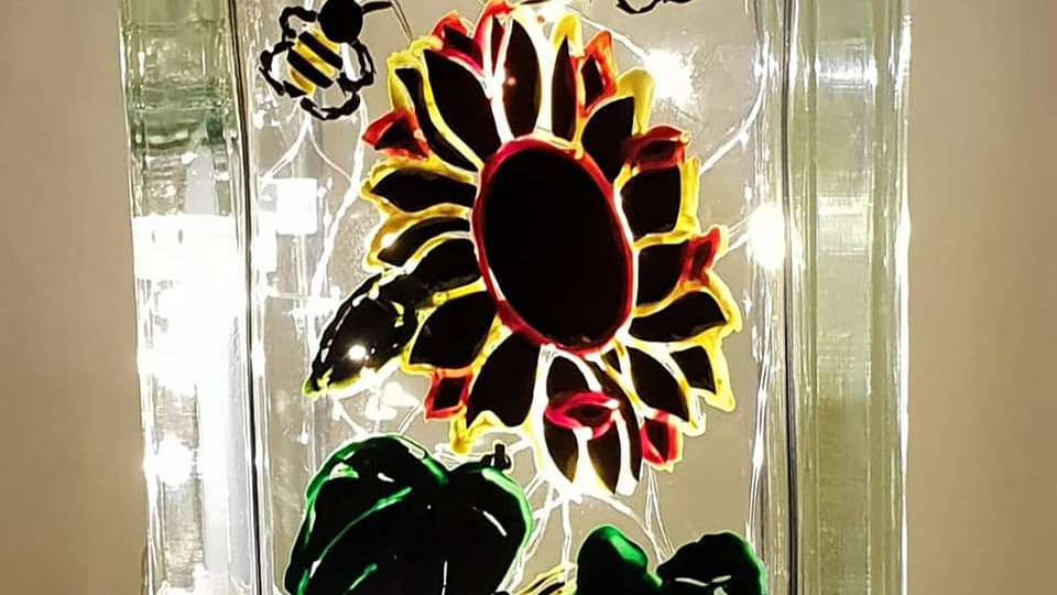 Hand finished sunflower and bee light block
