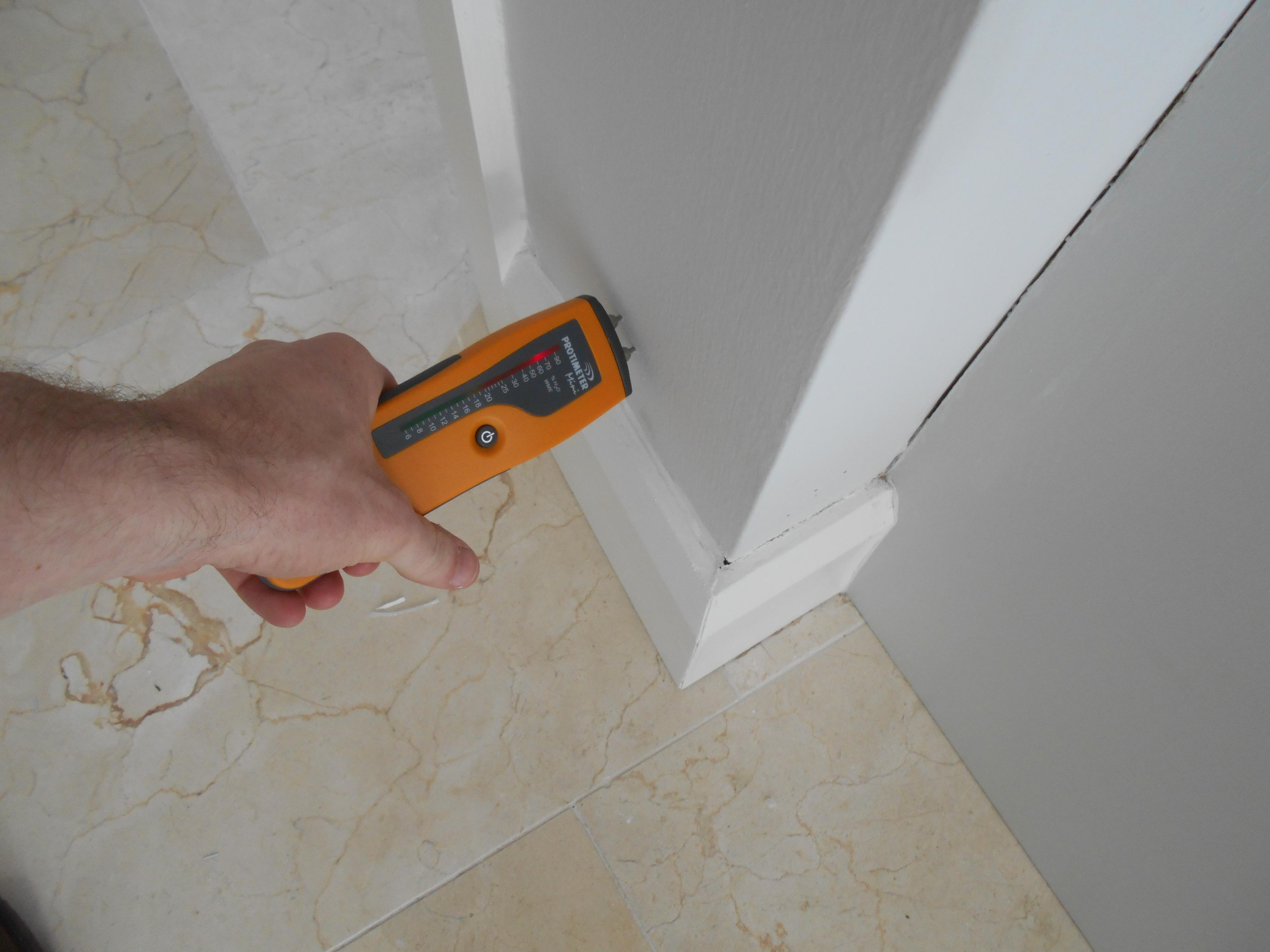 High damp readings recorded on moisteure meter