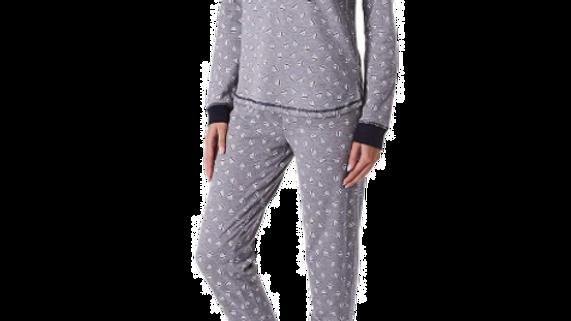 Tommy Hilfiger Women's Large  Globalstripehearttoss Long Sleeve Pajama Set