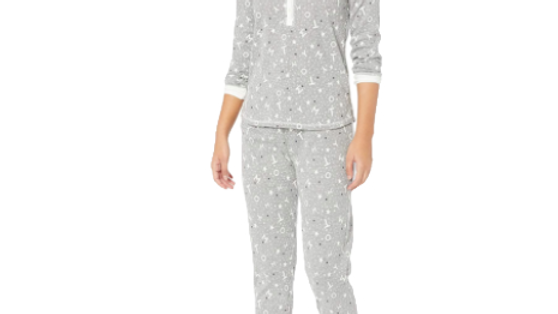 Tommy Hilfiger Women's  Small Stars Grey/White Long Sleeve Pajama Set