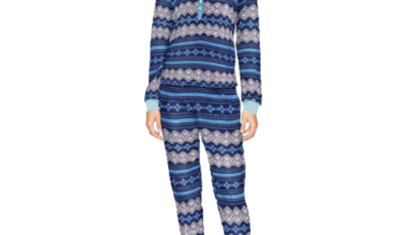 Tommy Hilfiger Women's Large  Bob Ross Fairisle Long Sleeve Pajama Set