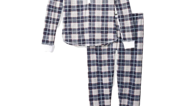 Tommy Hilfiger Women's College Grey Plaid Long Sleeve Pajama Set