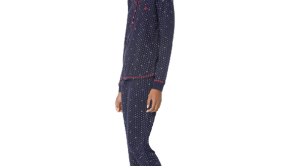 Tommy Hilfiger Women's  Navy Blue/Snow White Long Sleeve Pajama Set
