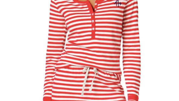 Tommy Hilfiger Women's Barberry Stripe Long Sleeve Pajama Set