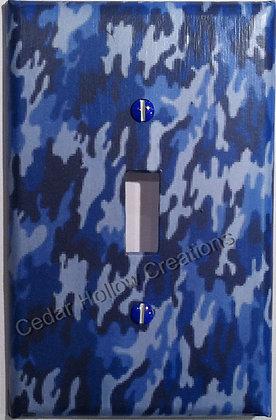 Blue Camo-Light Switch Cover