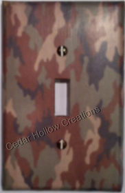 light switch covers,handmade,camo,camoflauge,pink,blue,green