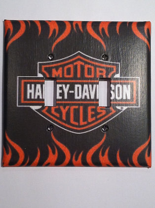 HD Logo with Flames Double Light Switch Cover