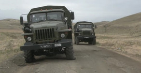Azerbaijani military showing captured territory and trophy weaponry in Nagorno-Karabakh