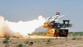 Syrian air defense confronting enemy targets above Damascus