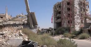 Driving  the streets of Al-Manshiyah and Dar'a al-Balad districts of Daraa city - Syria