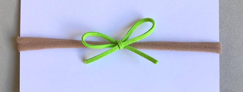 Faixa laço camurça // verde fluor