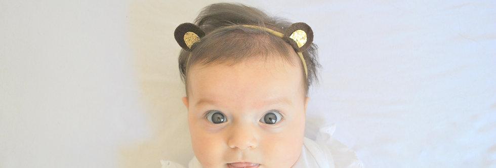 Faixa orelhinhas de urso // marrom e dourado