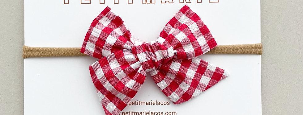 Laço Paris large M // Vichy vermelho e branco