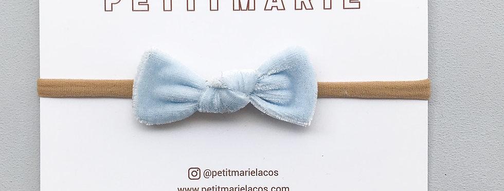 Laço Pétala // Veludo azul bebê
