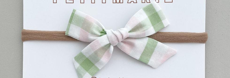 Laço Paris M // xadrez verde e rosa bebê