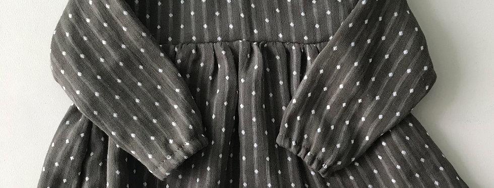 Bata Baby manga longa // Poá marrom escuro