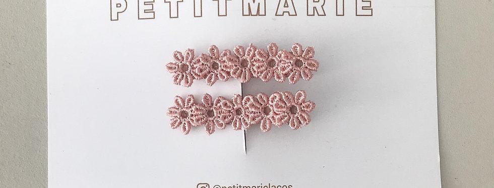 Par de clips flower // rosé