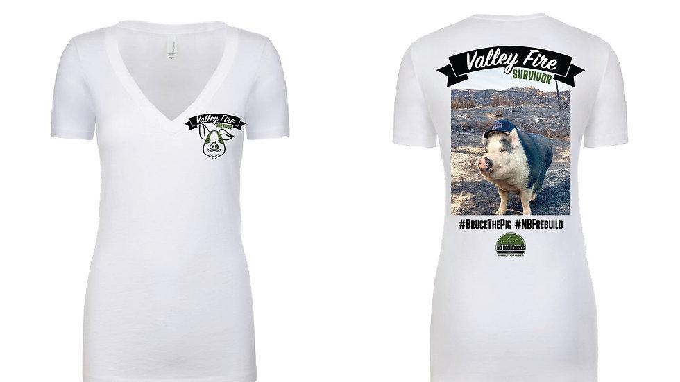 Bruce the Pig Valley Fire Survivor - Womens Shirt