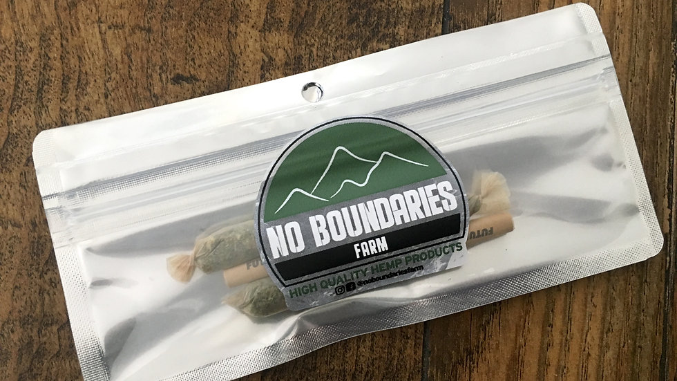No Boundaries Farm Hemp 1 Gram pre-roll 3-pack of Cherry Wine in package with logo